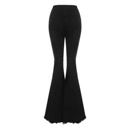 Vente en gros pantalon évasé en denim taille haute pour femmes bodycon jeans pour femmes