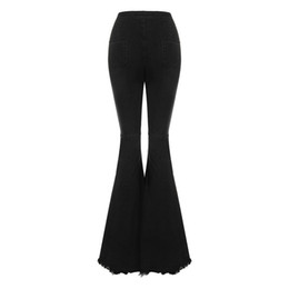 Chinese  women's bodycon high waist denim flared pants jeans women wide leg pants vintage stretch horn black jeans for ladies manufacturers