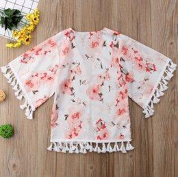 Floral Print Shirts Baby Australia - Kids Chiffon Cardigan INS Summer new Baby Tassel Blouse top Toddler Floral printed cardigan Baby Girl Kimonos outwear Shirts A01608