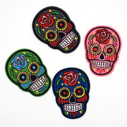 Wholesale 4 Pieces Flowered Skull Skeleton Embroidered Iron On Patch DIY Sewing Fabric For Jeans Applique Armband Badge Patches