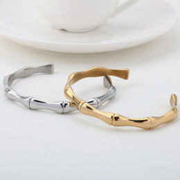 Discount silver bamboo bangles New bamboo newspaper safe bracelet Fresh bamboo festival opening men and women couple personality tide bracelet jewelry