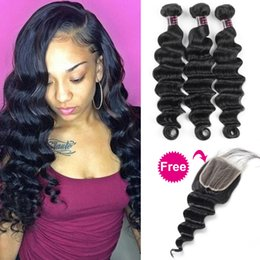22 inch yaki weave 2019 - Buy 3Bundles Get A Free Closure Deep Loose Brazilian Human Hair Bundles Loose Wave with Closure Yaki Straight Deep Wave