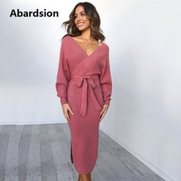 Long wrap sweaters online shopping - Abardsion Women Knitted Sweater Dress Wrap Belted Tunic Midi Vestidos Long Sleeve Double V Neck Split Casual Autumn Dresses