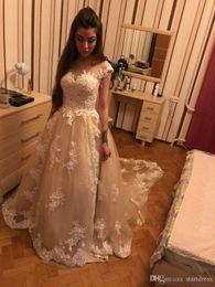 $enCountryForm.capitalKeyWord Australia - Luxury Champagne Lace Wedding Dresses Off The Shoulder Beach Wedding Dresses Custom Appliques Bridal Gowns Vintage Boho Wedding Dress