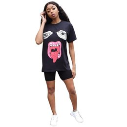 $enCountryForm.capitalKeyWord Australia - 2019 Women Summer Top Tees Lips Painted T Shirt Short Sleeve Round Collar Loose Tops Solid Color Lip Casual T-shirt S-XL Size Hot Sell C5602