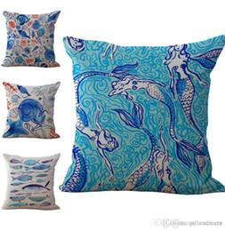 fish cushion pattern 2019 - Mediterranean series Starfish Fish Conch Pattern Pillow Case Cushion cover Linen Cotton Throw Pillowcases sofa Bed Car D
