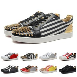 Punk shoes mens black online shopping - With Box utility Fashion Mens Womens Spikes Designer Low Top Zebra Blue Black Leather Casual Shoes Ladies Youth Luxury Punk Motorcycle Shoes