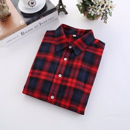 plus size sleeveless blouses collar 2019 - 5XL Plus Size Plaid Shirt Women 2019 Autumn Korean Style New Fashion Long Sleeve Shirt Women Casual Cotton Flannel Blous