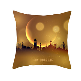 cotton lantern UK - 3PCS 45x45cm Muslim Ramadan Decoration For Home Cotton Seat Sofa Cushion Cover Lantern Throw Pillow Cover Eid Mubarak Decor