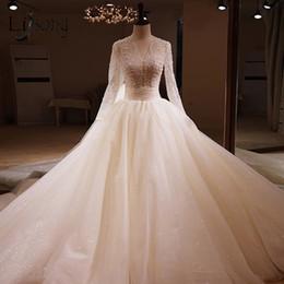 $enCountryForm.capitalKeyWord Australia - 2019 Fashion Beaded Lace Wedding Dresses Elegant Sparkle Tulle Bridal Gowns With Full Sleeves Backless Vestidos De Novia
