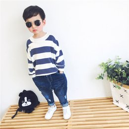 korean short sleeve denim men Australia - 2018 Autumn New Style Children Double Color Wide Stripe Joint Crew Neck Hoodie with Sleeves Korean-style Men And Women Children