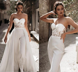 StrapleSS wedding dreSS Side Slit online shopping - Modest Jumpsuit Beach Wedding Dresses with Detachable Train Sweetheart Pants Bridal Gown Satin Lace Appliques Country Wedding Dress