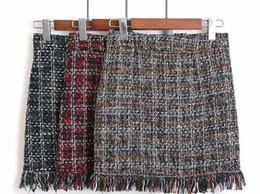 Wholesale skirt woolen high waist for sale - Group buy Women Woolen Mini Skirt Autumn Winter Vintage Straight Plaid Tassel Skater Skirt High Waist Femininas S XL