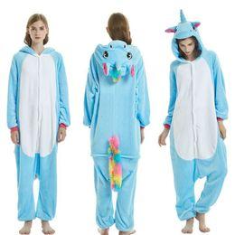 adfc32904014 Blue Unicorn Onesie Rainbow Tail Animal Kigurumi Cute Pajama Women Adult  Overall Winter Street Outfit Festival Fancy Funny Suit