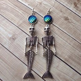 wholesale fish scales NZ - 2019 New Style Ancient Silver Mermaid Skeleton Fish Scale Ocean Nautical Pendant Earrings Popular Hot Sale Women Men Jewelry Halloween Gift