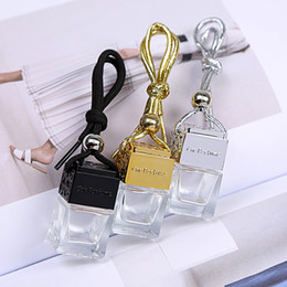 square shaped bottles NZ - Black Gold Silver Lids + Plastic Tip Square Shape Glass Car Perfume Bottles Pendant 6ml Perfume Empty Hanging Car Diffuser Bottle Free DHL
