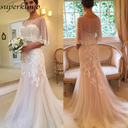 $enCountryForm.capitalKeyWord NZ - Elegant Wedding Dresses with Cap Beading Sequins Sweetheart Neckline Tulle Lace Appliques Backless Bridal Dresses Gowns