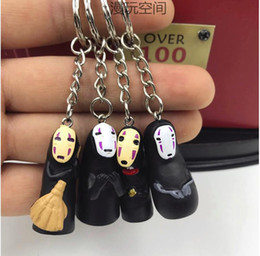 Spirit Pendants Australia - Studio Ghibli Spirited Away No Face Man Keychain Bag Car Key Chain Miyazaki Hayao Anime Kaonashi Model Pendant Figure Keyring Birthday Gift