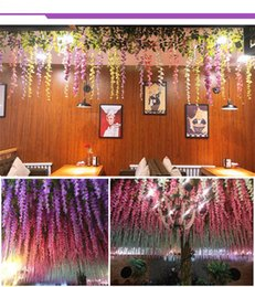 Wholesale Rosequeen Wedding Decor Artificial Silk Wisteria Flower Vines hanging Rattan Bride flowers Garland For Home Garden Hotel Simulated Plants