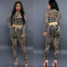 tattoo jumpsuit UK - 2018 Fashion Women Jumpsuits Tattoo Bandage Pattern Printed bodysuit full length sexy skinny Jumpsuits for women body