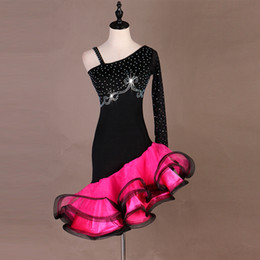 a7eda098b Custom made Latin Dance Dress Women Girls Rumba Cha-cha Skirt Ballroom  Competition Costume Clothing Diamond Latin Dancewear