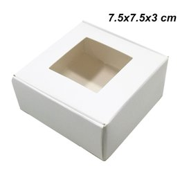 $enCountryForm.capitalKeyWord UK - 7.5x7.5x3cm White Kraft DIY Paperboard Foldable Packing Box for Soap Chocolate Card Paper Christmas Event Day Package Box with Clear Window
