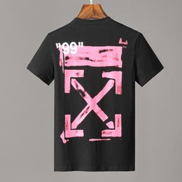 Опт 19ss men STENCIL S / S T-SHIRT off Футболка с короткими рукавами черного цвета с графическим принтом мужские топы Белые женские футболки 127
