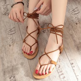 $enCountryForm.capitalKeyWord NZ - Lovely2019 Summer Woman Sandals Dew Toe Thick Hollow Out Chalaza Suede Leather Flat Bottom Crossing Bandage Rome Cool Boots