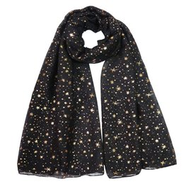 shimmer glitter scarf Australia - Silver Gold Glitters Shimmer Foil Stars Womens Scarf Shawl Wrap