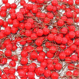 red flower stamens Canada - 50pcs 100pcs 10mm Red Cherry Artificial Flowers Fruit Stamens Cherries Wedding Decoration Diy Christmas Gift Box Wreaths Flower