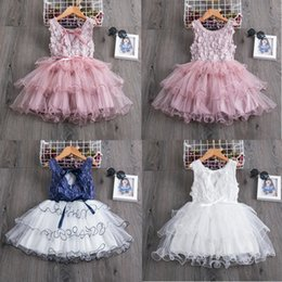 pink baby girls cake dress NZ - Baby Girls Clothes Little Princess Lace Cake Tutu Sashes Dress Summer Clothes Kids Birthday Pink Vestido Infantil Menina 3 5 8 Y CY200514