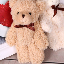 Bored hair online shopping - Teddy Bear Plush Pendant Stuffed Toys Curly Hair With Bow Tie Kawaii Wedding Gifts13cm hy F1