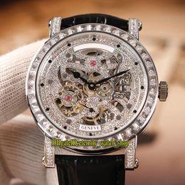 mens diamond watches 2019 - MEN'S COLLECTION ROUND 7042 B S6 SQT D MVT D Diamond Skeleton Dial Automatic Mens Watch Rose Gold Diamond Case Leat