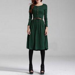 Hot Long Dress Models NZ - Leisure Fashion European and American women's long-sleeved buttons retro literary model knitted bottom dress skirt hot selling Dresses
