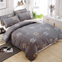 $enCountryForm.capitalKeyWord Australia - New Design Luxury Brown Crown Printing Bedding Set Twin Full Queen King Size Adults Bedclothes Duvet Cover Flat Sheet Pillowcase
