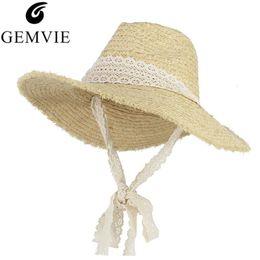 $enCountryForm.capitalKeyWord UK - GEMVIE Vintage Floppy Brim Sun Hat For Women Straw Hat Fluffy Large Brim Raffia Woven Jazz Cap Fedoras With Long Band Beach