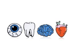 Bag Teeth Australia - 2019 New Cartoon Cute The Human Organ Brain Eye Tooth Heart Metal Brooch Pins Button Badge Funny Enamel Lapel for Women Bags Jewelry 183