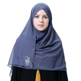 flower hijabs UK - Muslim Women's Headscarf Flower Print Headscarf Square Female Scarf Beading Hijabs