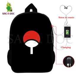 Naruto Multifuncional Mochila Uchiha Sasuke Naruto USB Escola de Carregamento Sacos para Adolescentes Mulheres Homens Mochila Laptop Sacos De Viagem venda por atacado