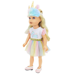 gothic toys Australia - New Blue Unicorn Skirt Cloth with horn eyeshade for 18 inch Doll American Girl Our Generation