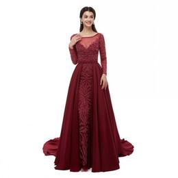 Splendido abito da sera a sirena in cristallo bordeaux con collo staccabile scollo classico con cerniera perline abito da sera in taffetà manica lunga