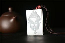 $enCountryForm.capitalKeyWord Australia - New Chinese Hand Carved Natural White Jade Buddha Amulet Pendant Necklace Wholesale