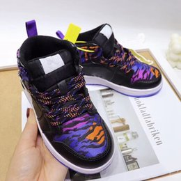 sports prints NZ - Chicago Kids J1 Mid Basketball Shoes What the Tiger Print Children Boy Girls Trainers Orange black Sport Shoes size 27-35