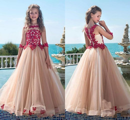 Beautiful Beach Pictures Australia - Beautiful Champagne Red Lace Flower Girls Dresses 2019 With Half Sleeves Illusion Desginer Beach Princess Cheap Kids First Communion Dress