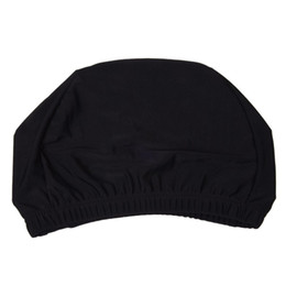 Discount women swim bathing caps - Woman Man Polyester Elastic Swimming Bathing Hat Cap Black