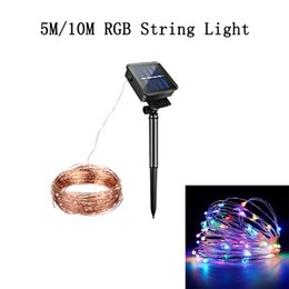 star christmas lights string UK - Solar String Lights 5M 10M Copper Fairy LED Rope Lights IP65 2 Modes RGB Fairy Lights for Outdoor Garden Patio Christmas Party