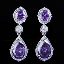 34325ce87 Vintage Silver Crystal Bridal Earrings Cubic Zirconia Teardrop Earrings  Bridesmaid Jewelry Wedding Earrings Water Drop Rhinestones