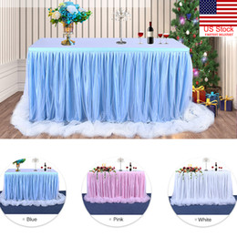 tulle decorations for birthday parties NZ - 6ft Wedding Tulle Tutu Table Skirt Baby Shower Decor Table Cover for Birthday Party Wedding Festival Decoration
