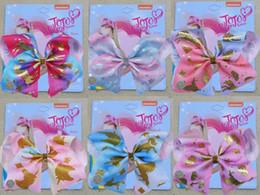 "Inch Hair Ribbon Australia - Drop shipping 8 Inch""jojo Girls Siwa Unicorn hair clip Hot stamping ribbon bow Colorful Hairpin Large Hair Bows Hair Accessories 10pcs"