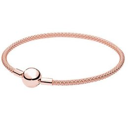 925 silver mesh chain NZ - Authentic 925 Sterling Silver Bangle Rose Gold Snake Chain Basic Ball Clasp Mesh Bracelet Fit Women Bead Charm Fashion Jewelry